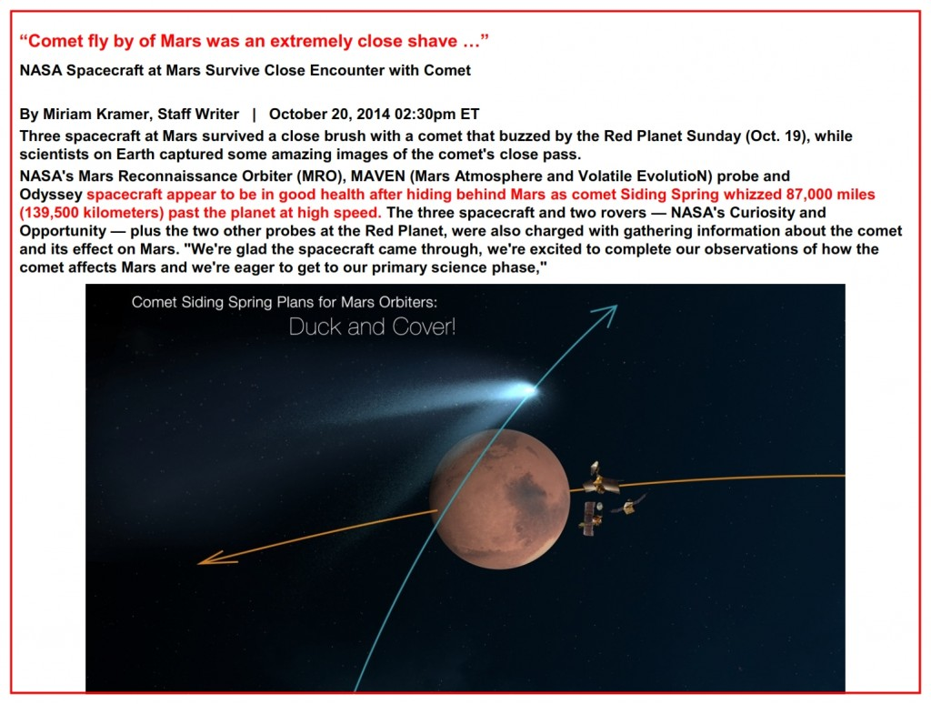 "Unexpected Comet tail brushes Mars – October 20, 2014 02:30pm ET ""Comet fly by of Mars was an extremely close shave …"""