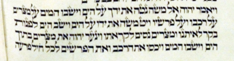The following two photographs are from a Torah Scroll written in Vilnius, Lithuania around 1750. The pictures are at the crossing of the Red Sea.