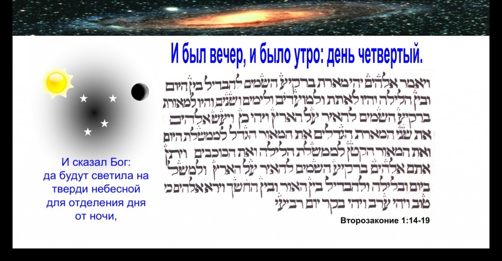 "God created the universe on the fourth day ""and God said, let there be lights in the firmament of the heaven"" God created the universe on the fourth day ""and God said, let there be lights in the firmament of the heaven"""