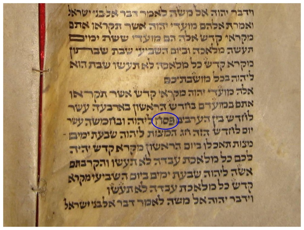 Hebrew scroll from Morocco showing the Hebrew word Passover in Leviticus 23. Russian language Passover