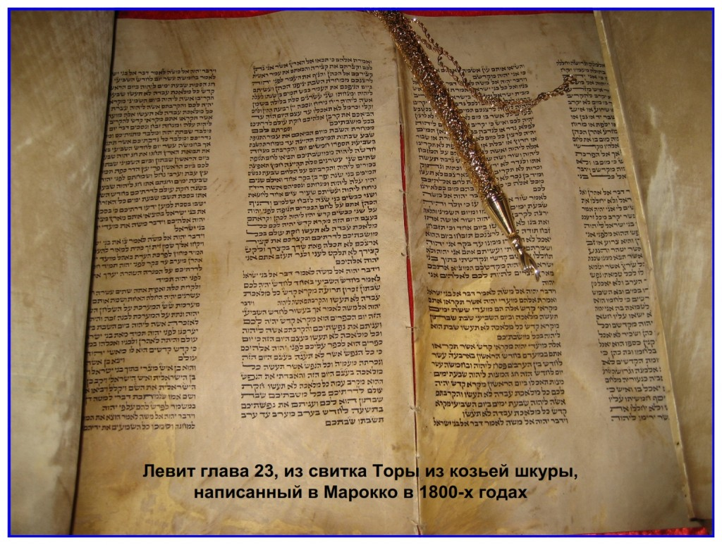 Torah Scroll written in Morocco showing Leviticus 23 The Feasts of the Lord