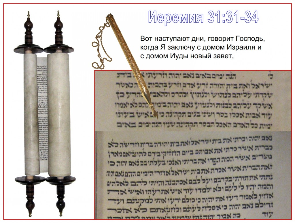 This scroll of Jeremiah was written in Poland in the 1800s. The yad, pointer, is showing the beginning of Jeremiah 31:31