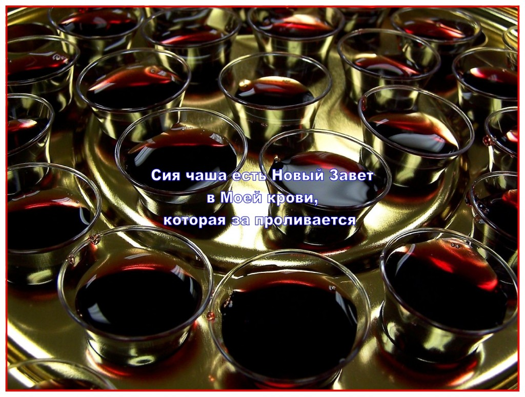 We drink a cup of the fruit of the vine at communion to remember the shed blood of Christ until He returns.