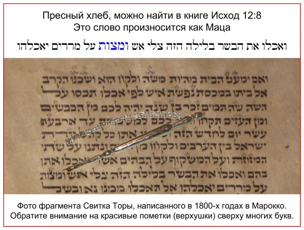 Torah Scroll written Morocco showing the word Matzo in Exodus 12