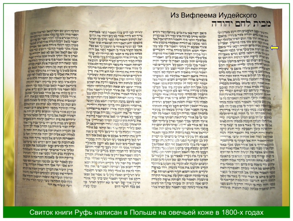 The Hebrew Scroll of Ruth written in Poland many years ago. It is written on sheep skin using iron gall ink.