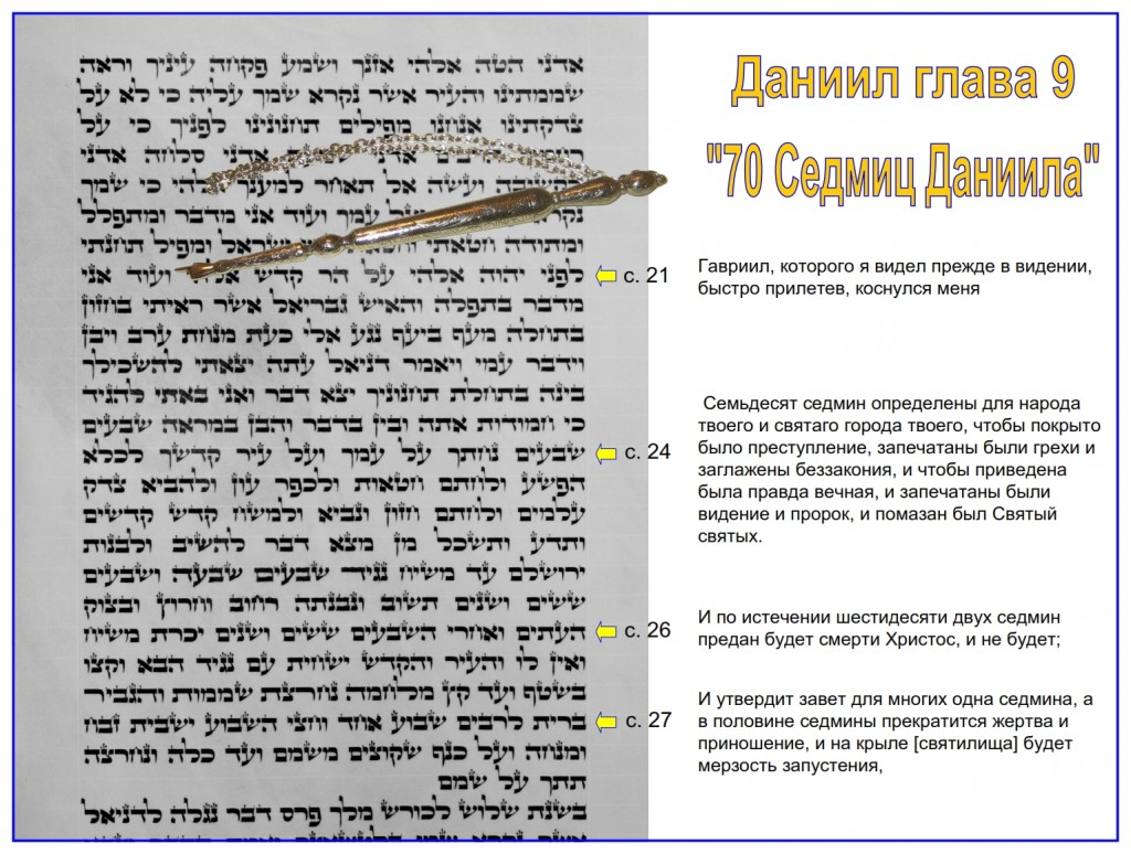 Russian language Bible study: This is a very rare Hebrew Scroll of Daniel showing Daniel chapter 9 the 70 weeks of Daniel