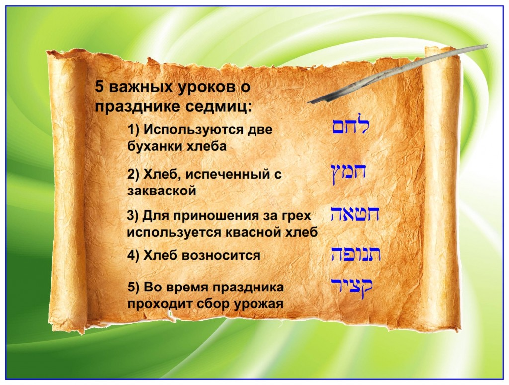 Russian language Bible study: Five important lessons in the Feast of Weeks, Leviticus 23