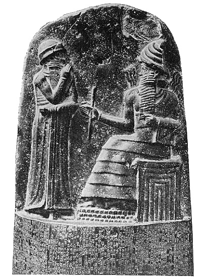 Measuring rod and coiled rope depicted in the Code of Hammarubi Milkau_Oberer_Teil_der_Stele_