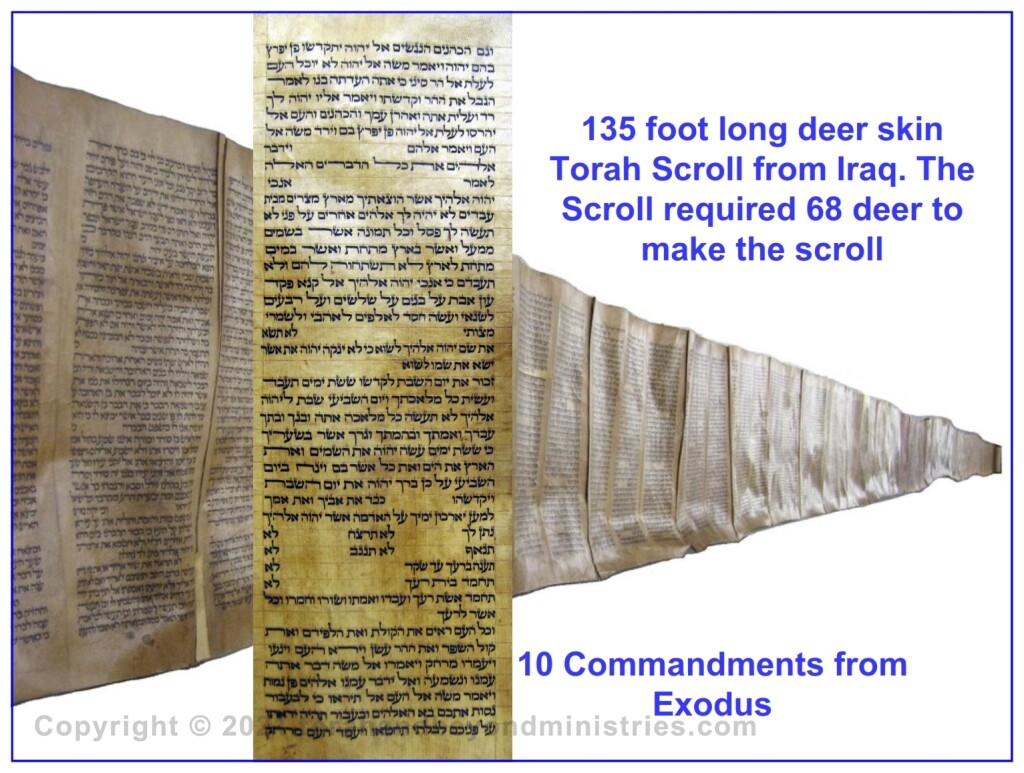 10 Commandments with entire 135 foot Torah Scroll
