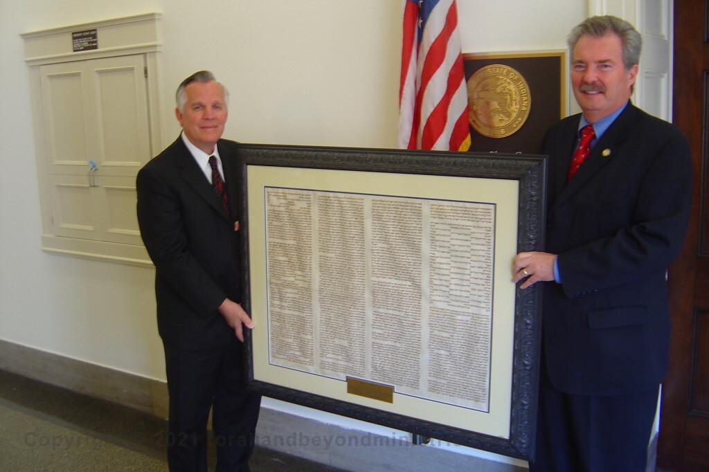 Framed Torah 10 Commandment sheet on loan to US Congressman Mike Sodrel