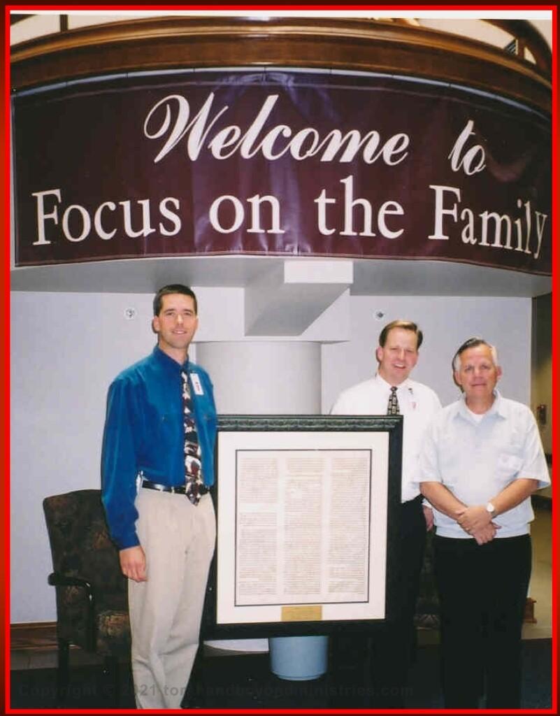 Framed Torah sheet donated to Focus on the Family