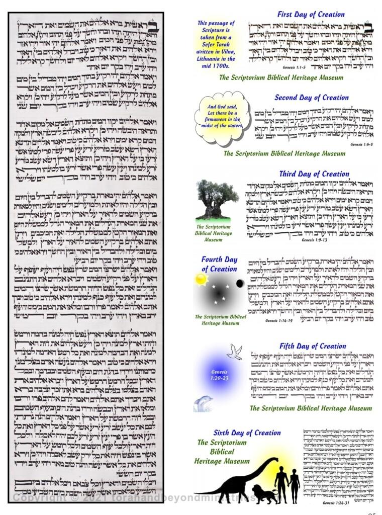 Torah Scroll sheet showing the Six days of Creation