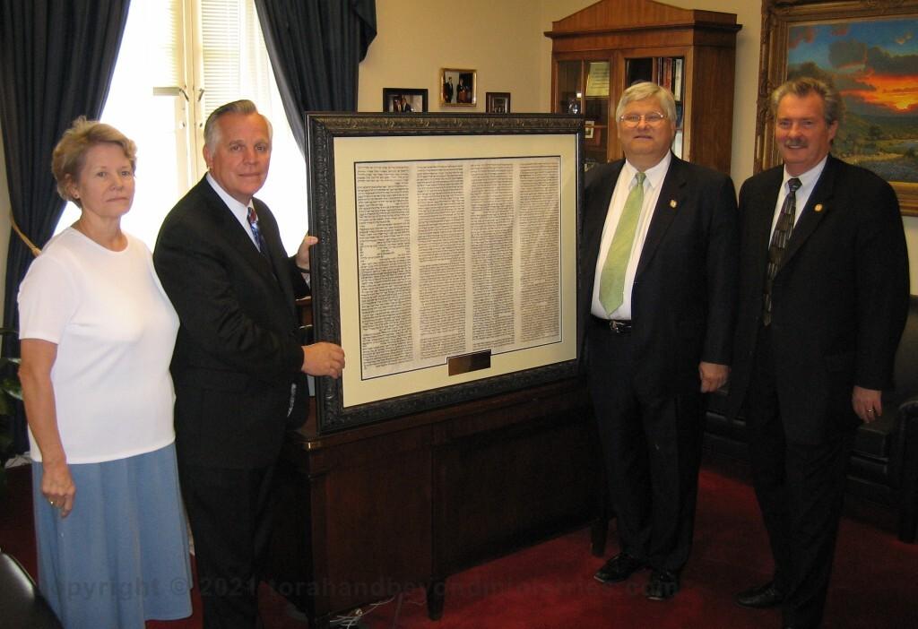Framed Torah 10 Commandment sheet on loan to US Congressman Kenny Marchant