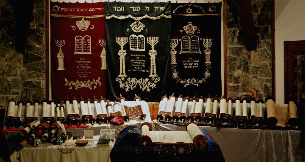 Complete set of Tanakh Hebrew Scrolls shown in Glen Rose, Texas