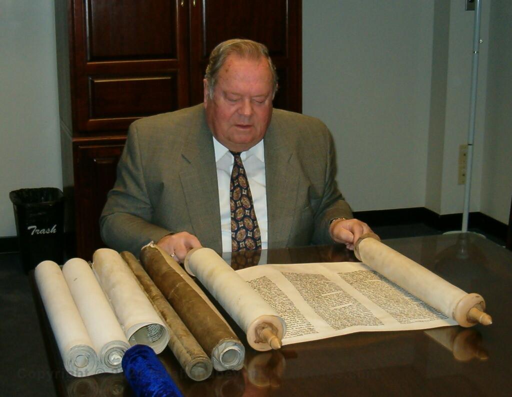 Professor Gene Fisher Bob Jones University examining Scrolls