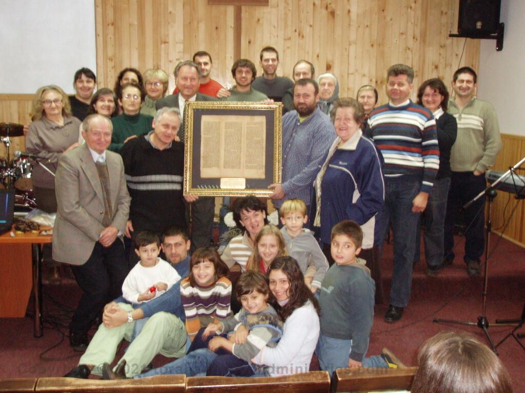 Torah Sheet donated to a Baptist church Kikinda, Serbia