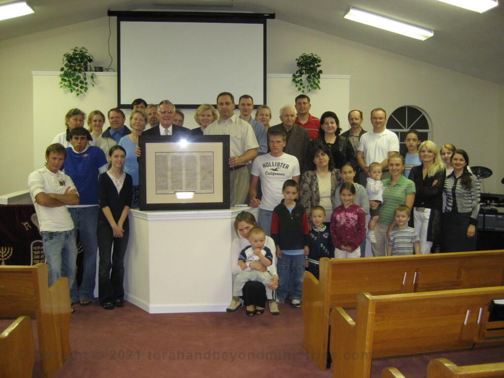 Framed Torah sheet donated to Russian Baptist Church