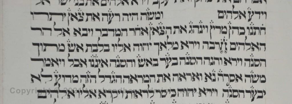 Sheet 12 Exodus 3 burning bush - Torah from Lithuania written in the 16th century