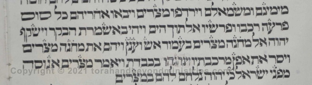 Sheet 15 Exodus 14:25 wheels - Torah from Lithuania written in the 16th century