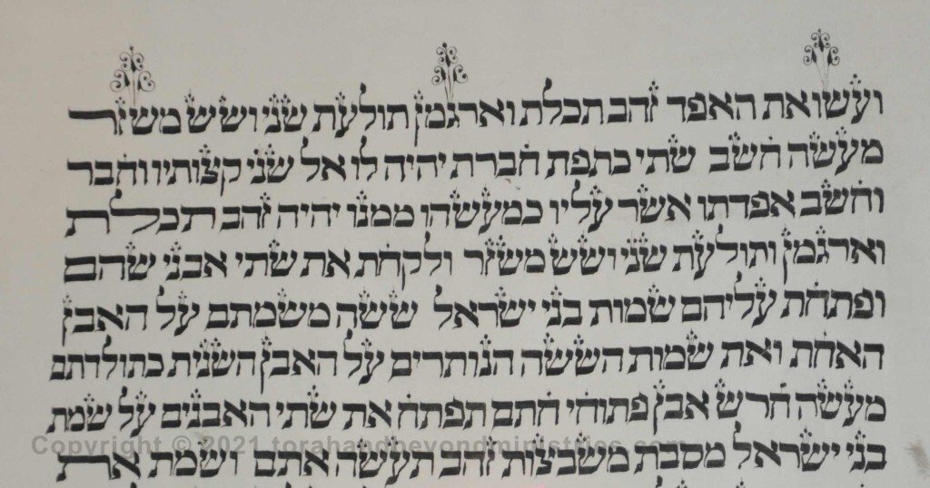 Sheet 19 Exodus 28:6 make - purple - fine twined - Torah from Lithuania written in the 16th century