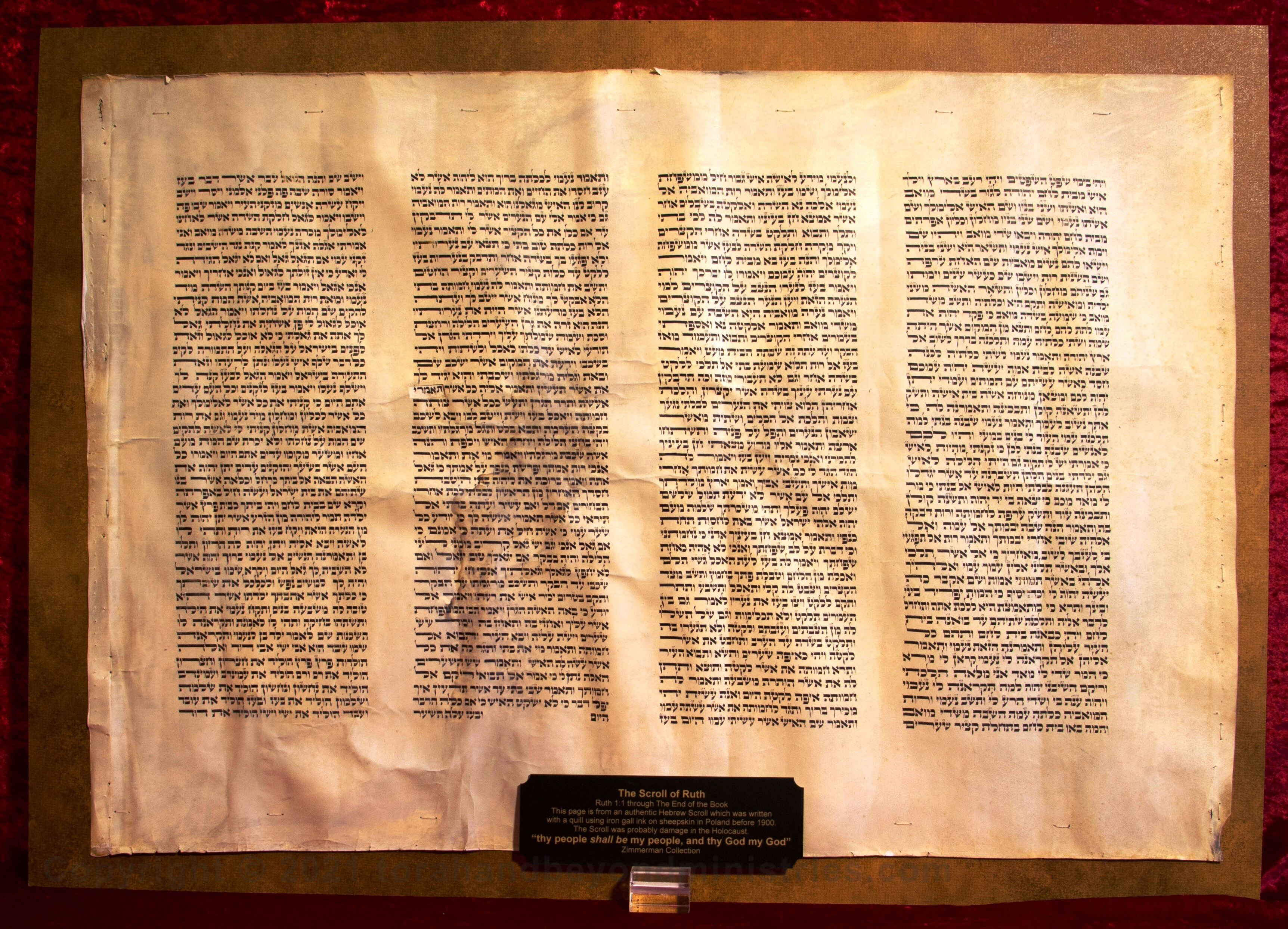 The Hebrew Scroll of Ruth written before 1900.