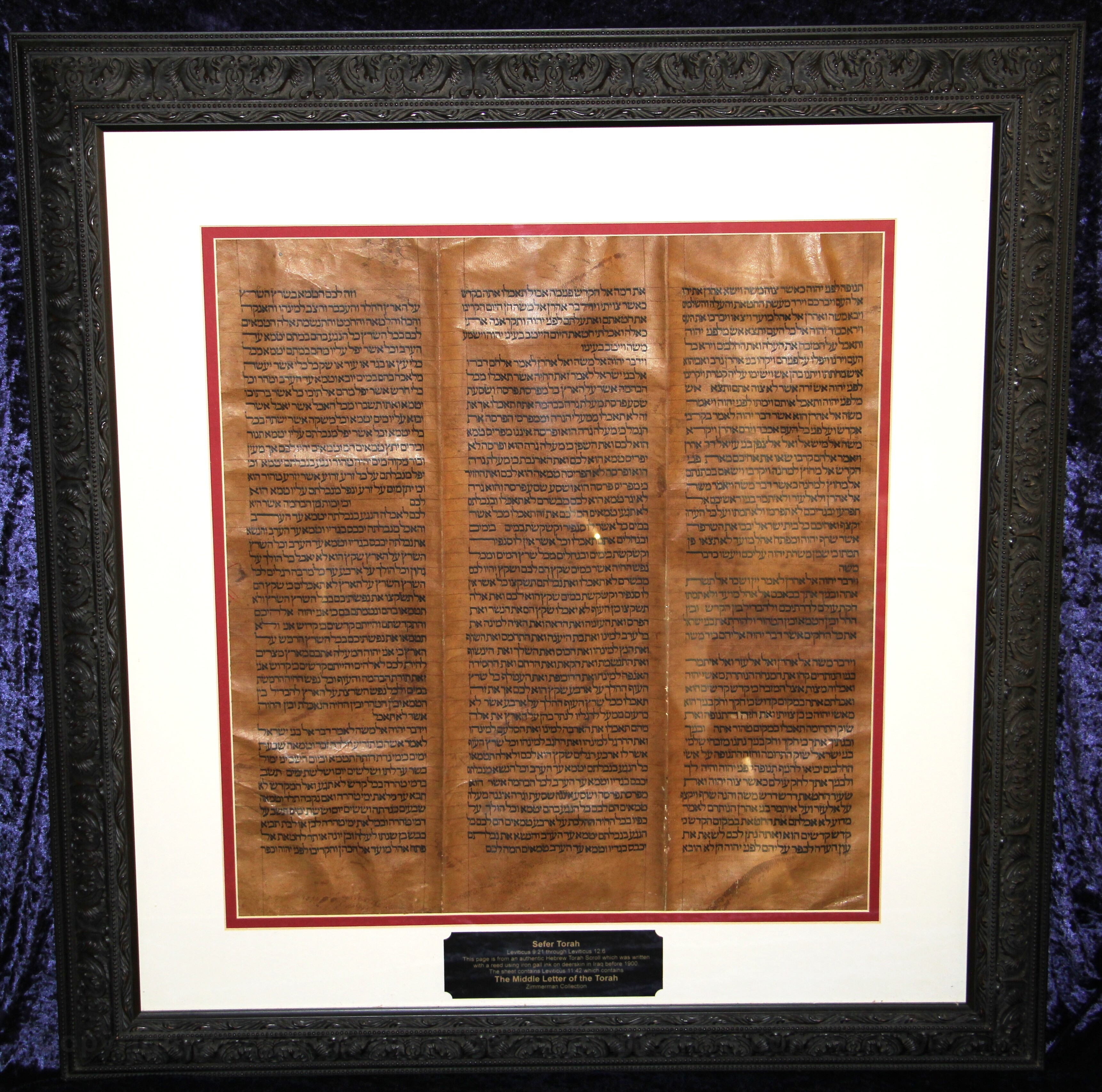 Torah sheet which contains the middle letter of the Torah.