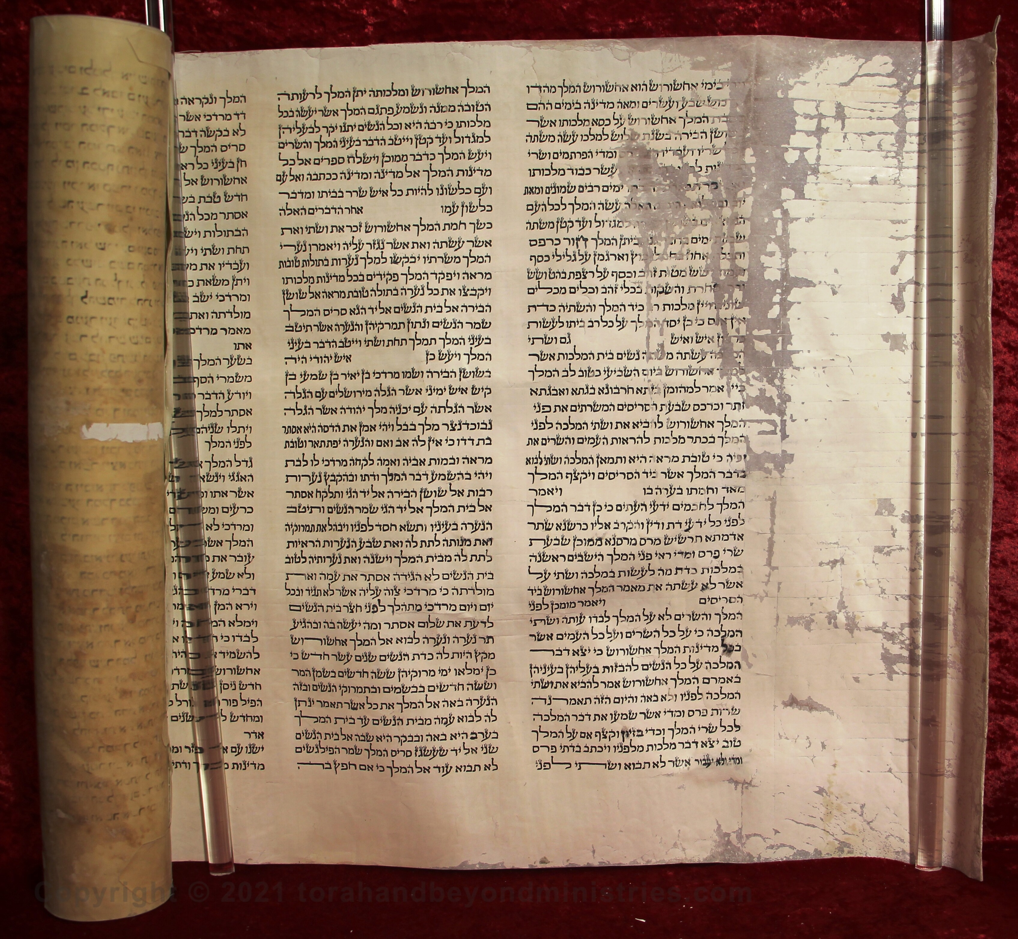 The first column in the Scroll of Esther was damaged.