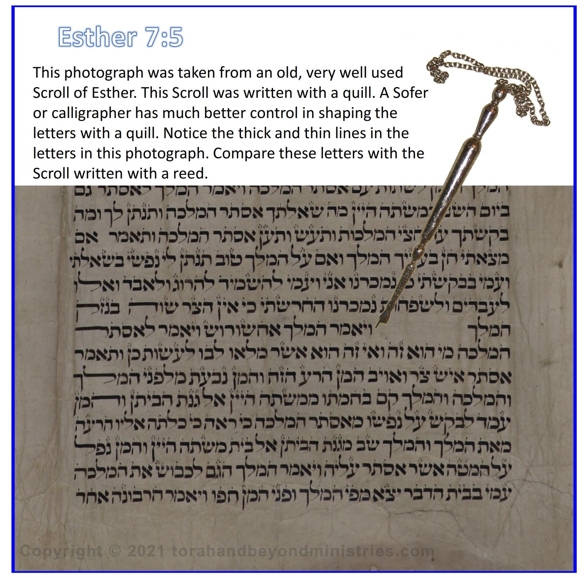 Esther 7:5 shown in an old Hebrew Scroll of Esther