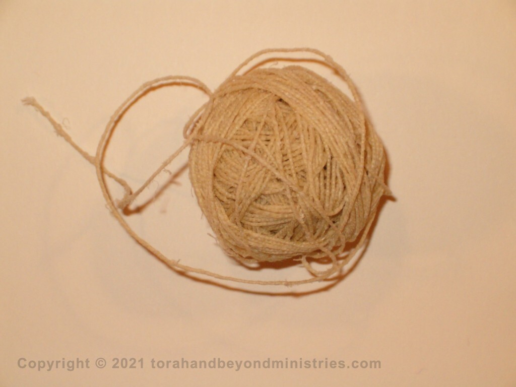 Sinew, called gid in Hebrew. This is hand spun sinew from Israel