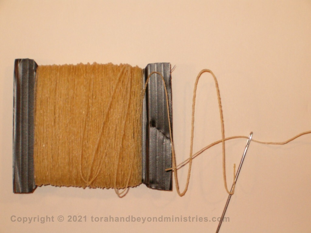 Sinew, called gid in Hebrew. This is most common in America and is machine spun. Some Sofers consider it not kosher.
