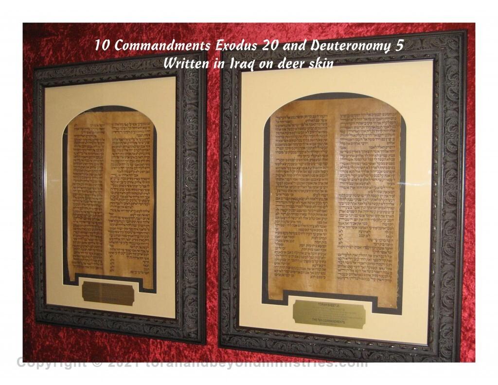 Framed Torah Sheets - 10 Commandment sheets from Exodus 20 and Deuteronomy 5 written in Iraq on deer skin.