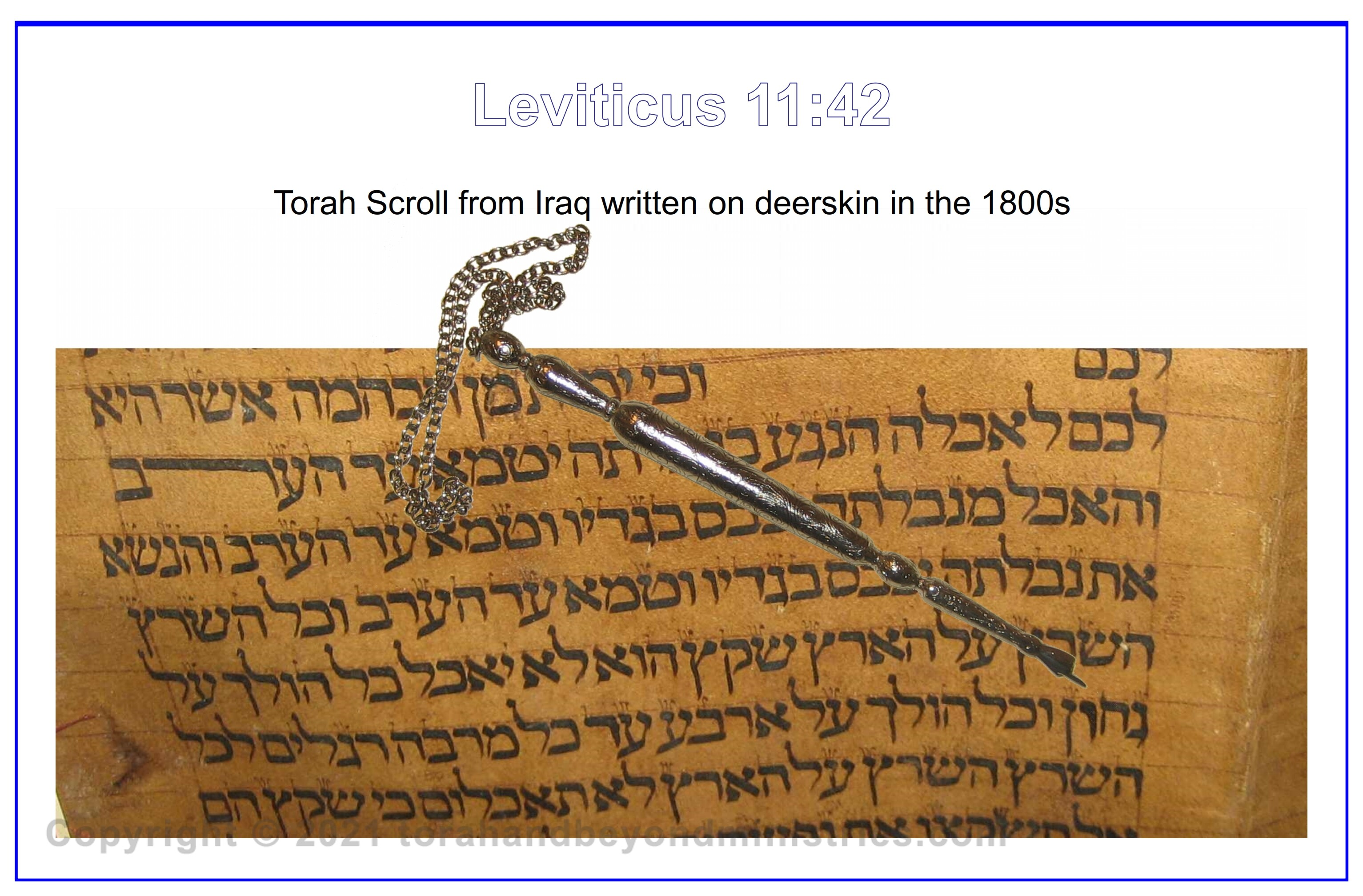 The yad, hand, is pointing to the middle letter of the Torah.