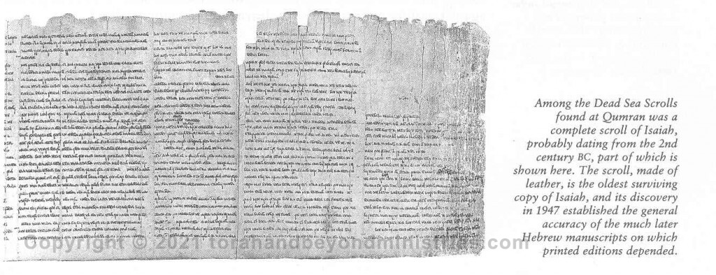 Photo of the Dead Sea Scroll of Isaiah printed upside down.