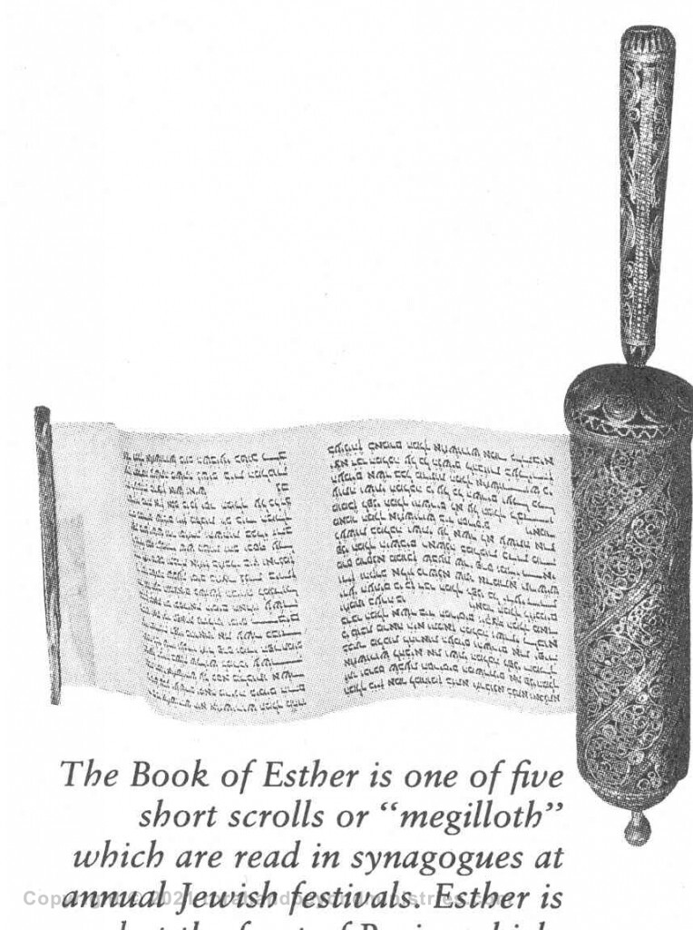 Scroll of Esther found in Christian Bible commentary. The Scroll was printed upside down.