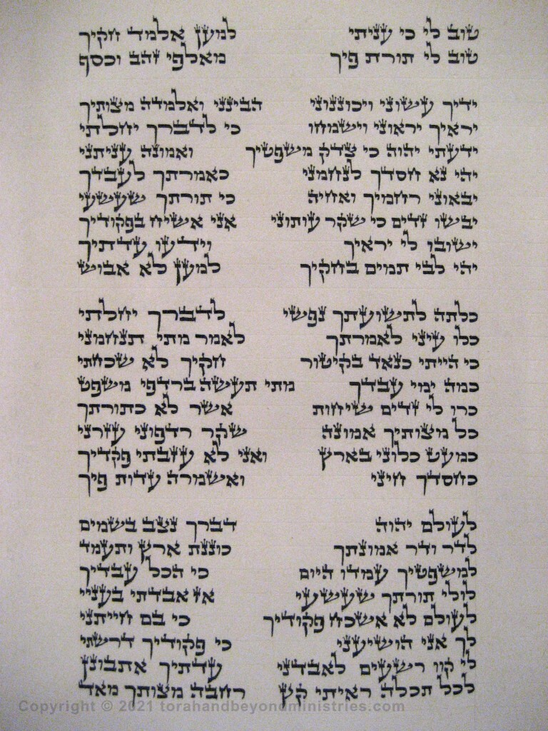 Photograph of the Scroll of Psalms showing Psalm 119 verses 71 through 96 showing the tet, yod, kaf, lamed
