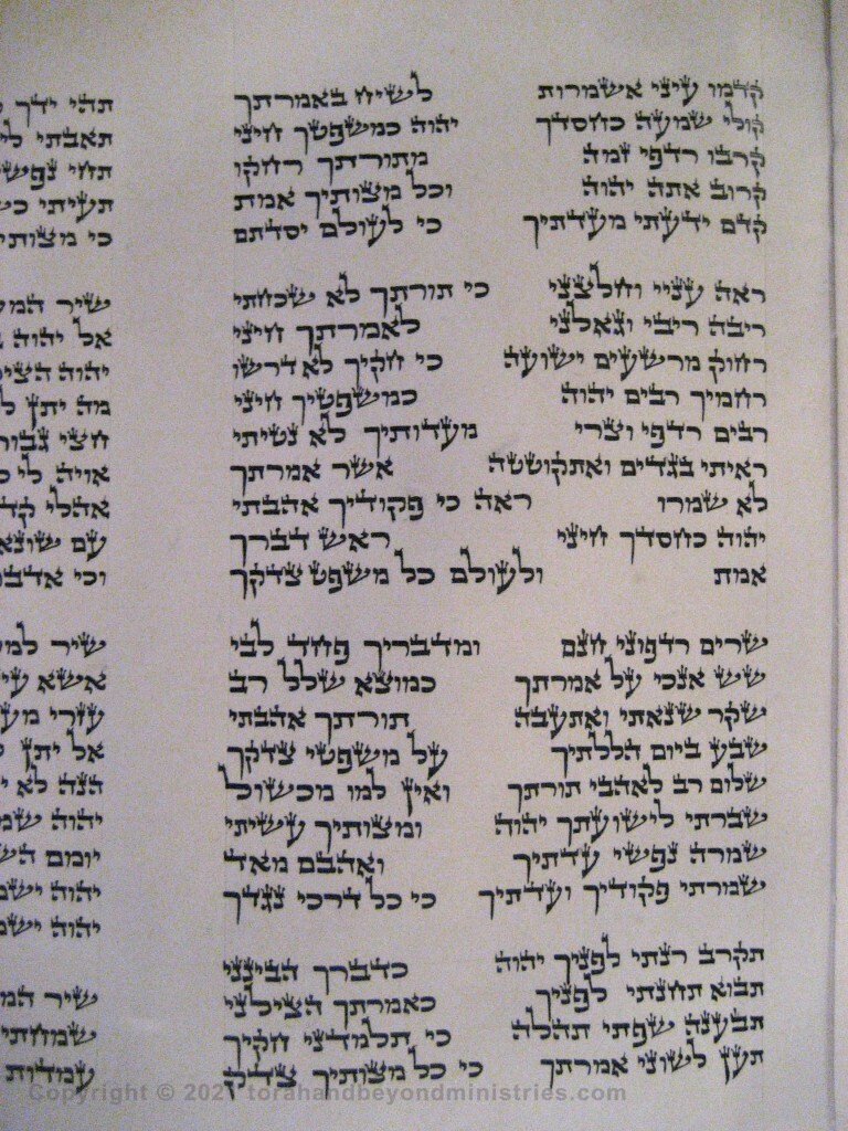 Photograph of the Scroll of Psalms showing Psalm 119 verses 148 through 172 showing the qof, resh, shin, tav