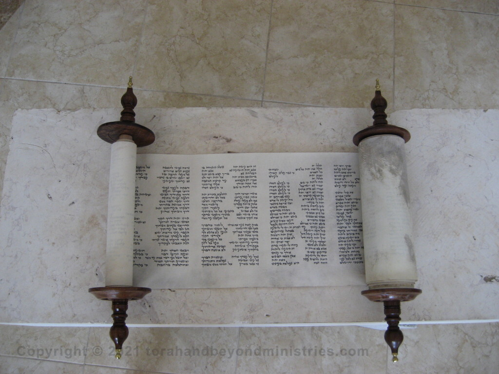Photograph of the Scroll of Psalms opened to Psalm 119