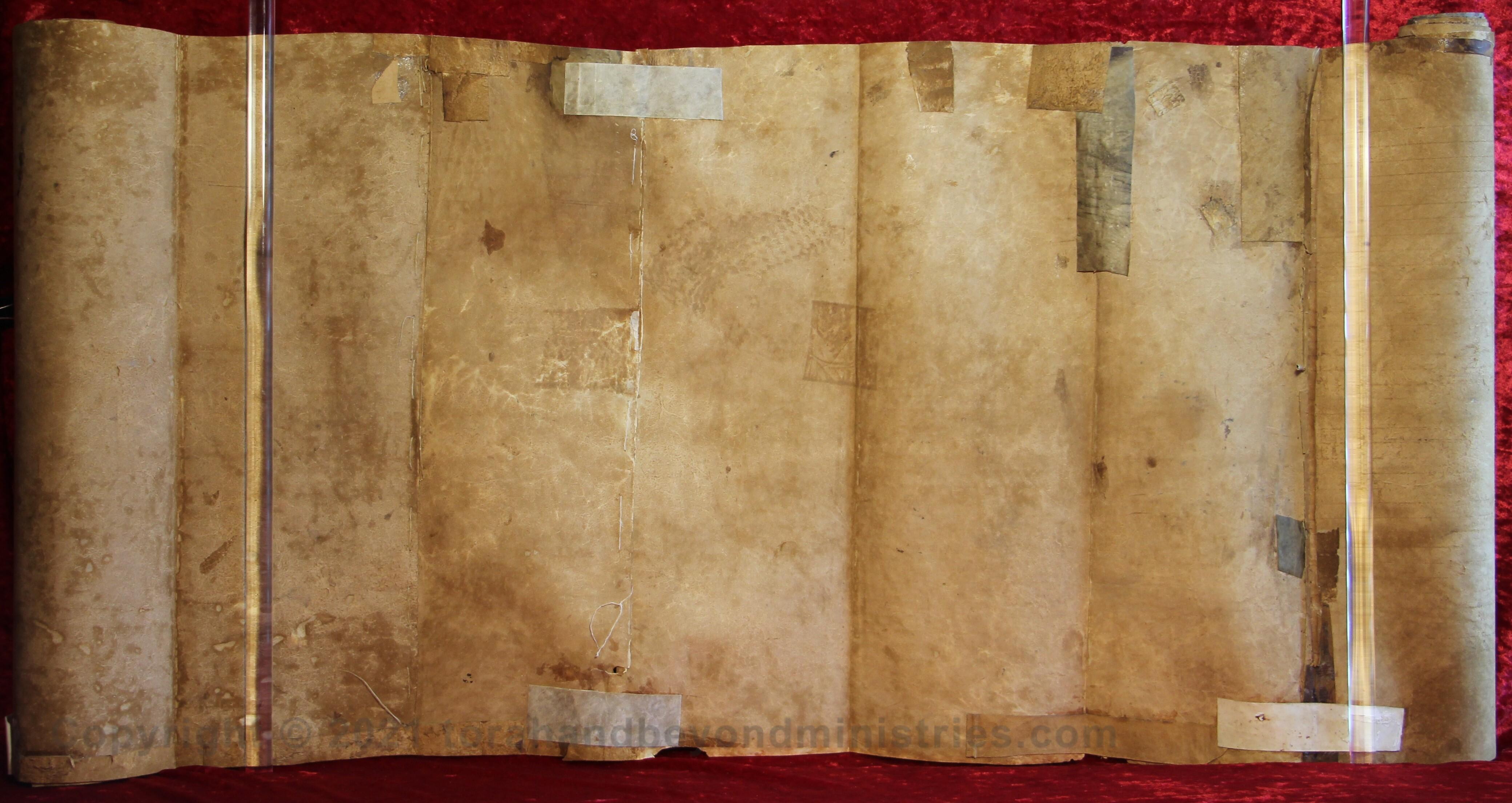 Very old well used deerskin Torah Scroll
