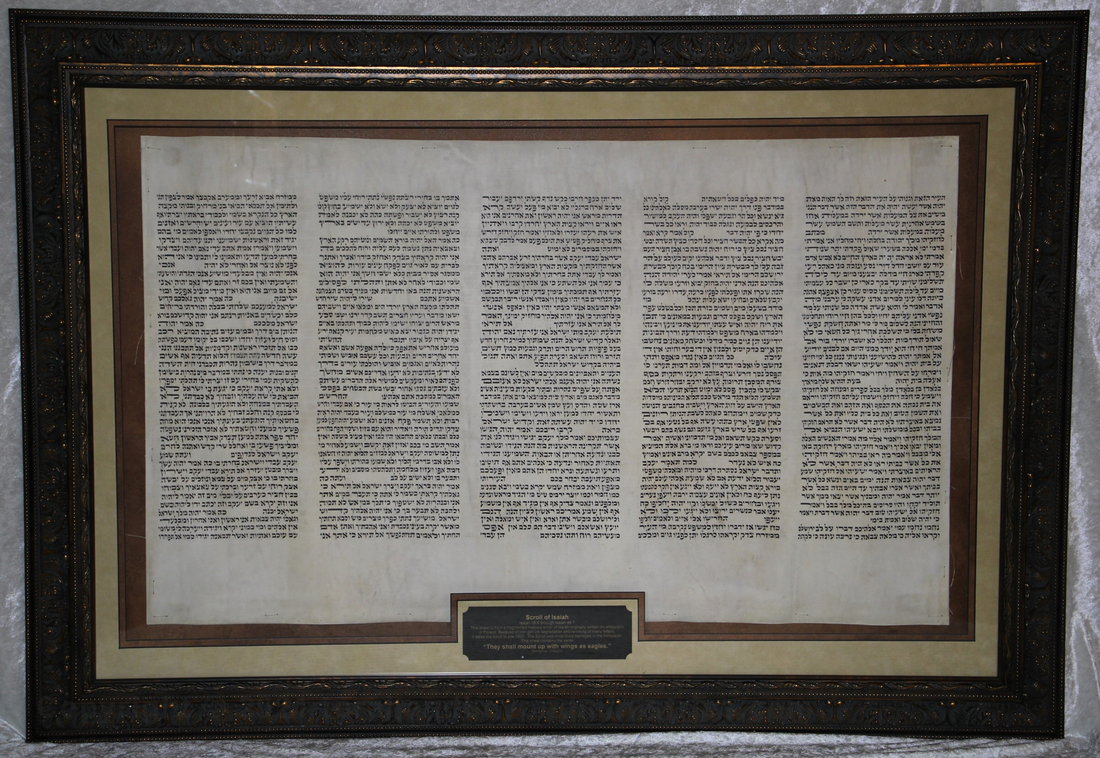 """Framed sheet from a Scroll of Isaiah """"They Shall Mount Up with Wings as Eagles"""" Isaiah 44:8b through Isaiah 50:2b"""