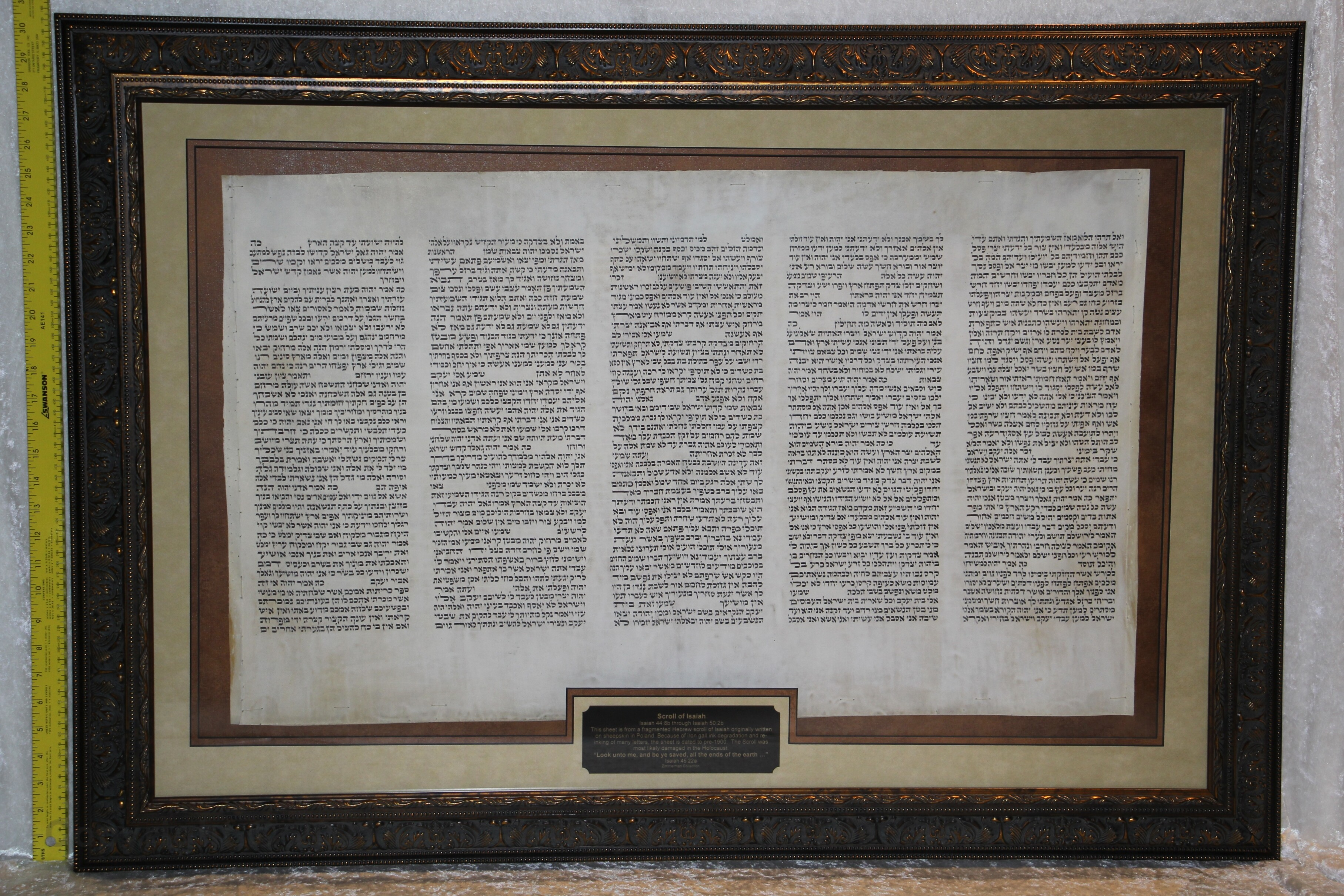 """Framed sheet from a Scroll of Isaiah """"Look unto me, and be ye saved, all the ends of the earth"""" Written in Poland in the 1800s Isaiah 44:8b through Isaiah 50:2b"""