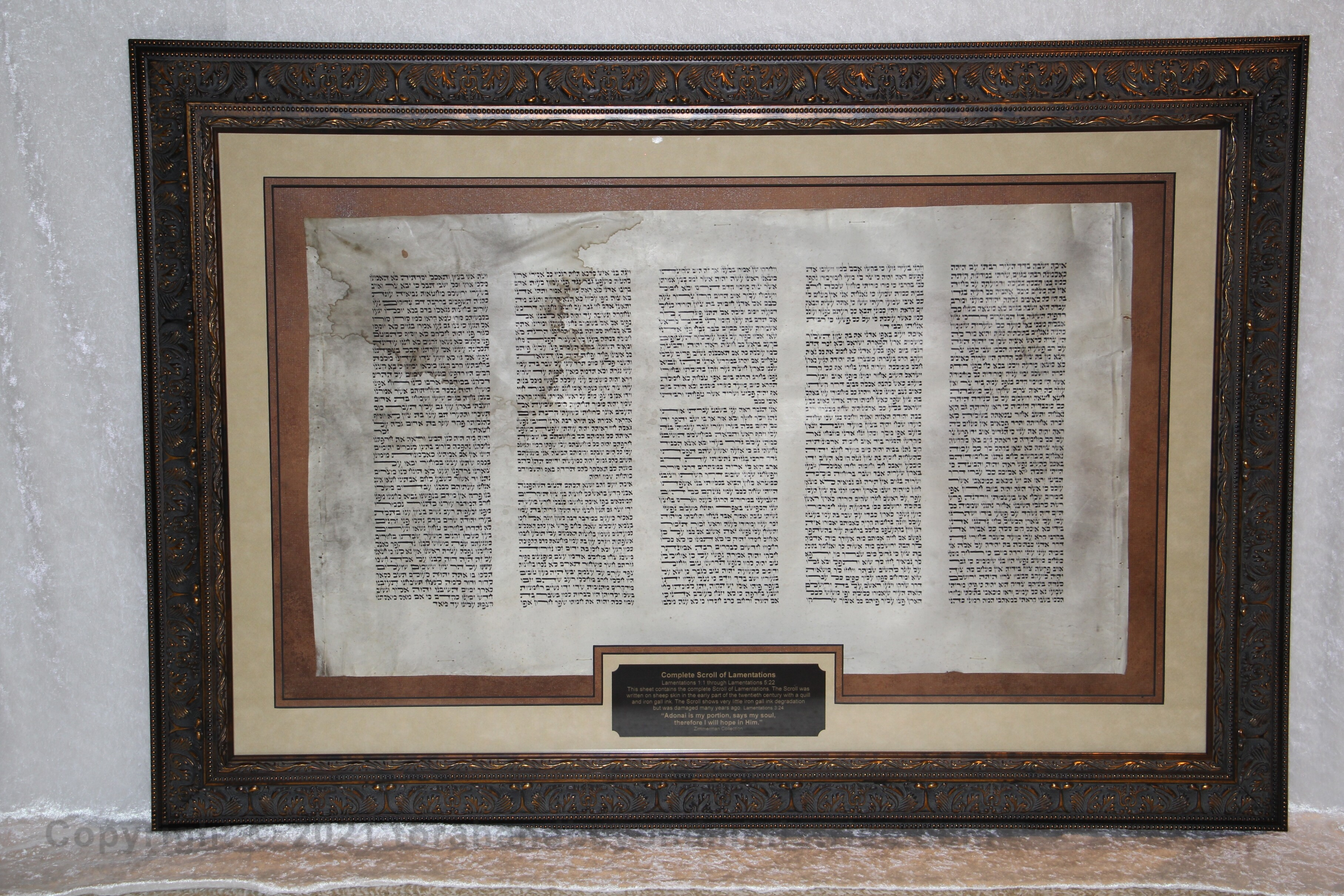 Framed Complete sheepskin Scroll of Lamentations damaged in the Holocaust