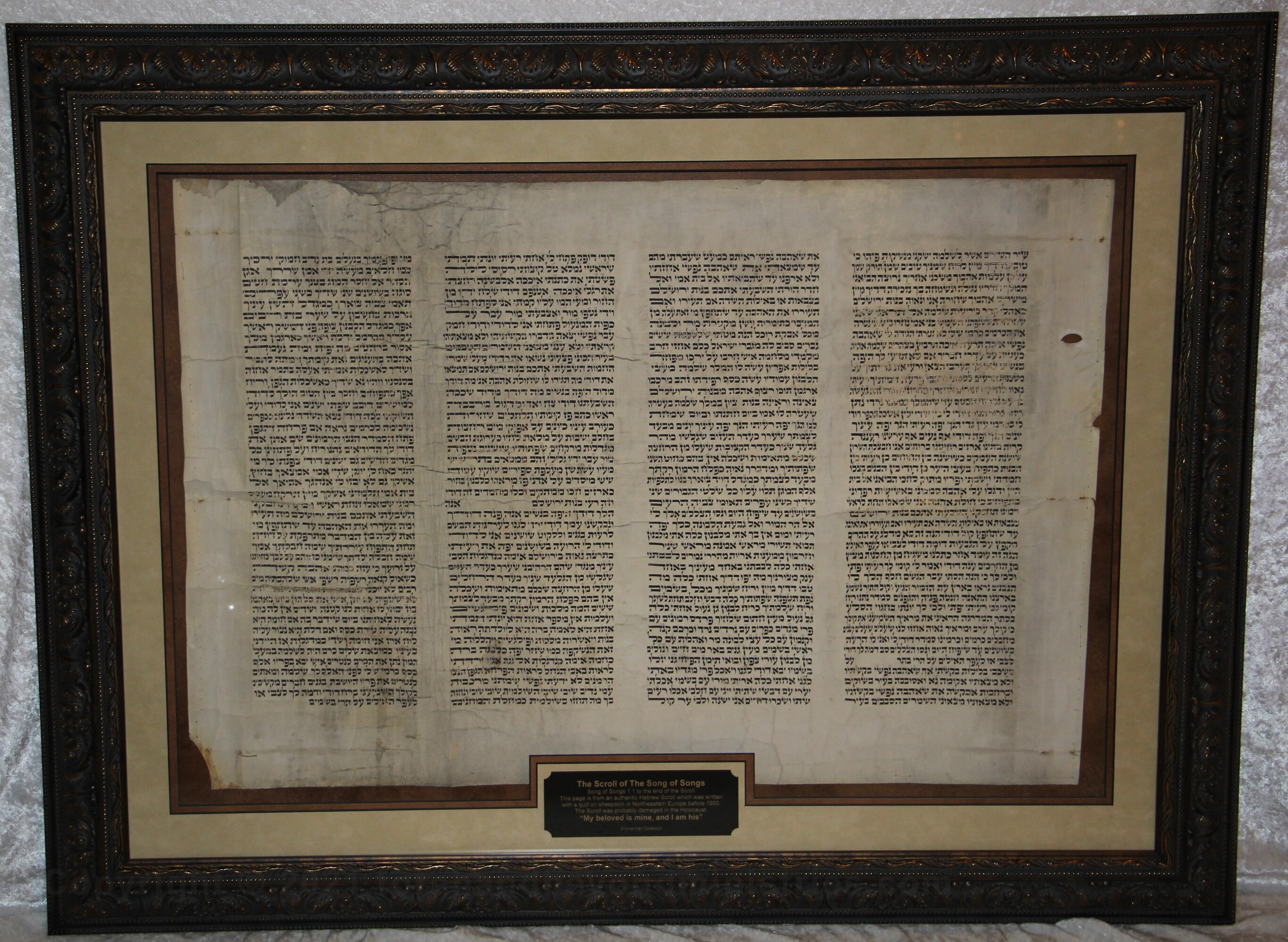Song of Songs Entire Scroll - Written in Northeastern Europe on sheepskin before the 20th Century