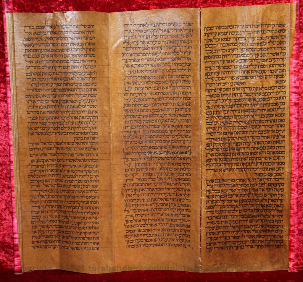 Deerskin Torah Scroll photograph of Day of Atonement text