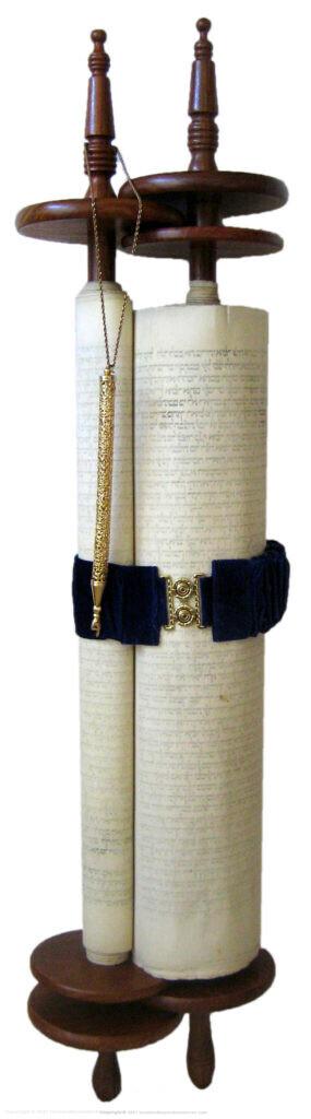 Vilna Torah Scroll with gartel and yad