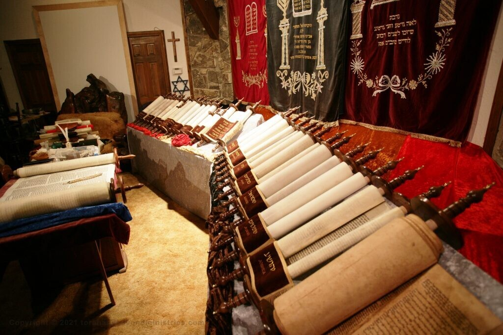 Complete set of Hebrew Scrolls on display at Robert Summers home reduced