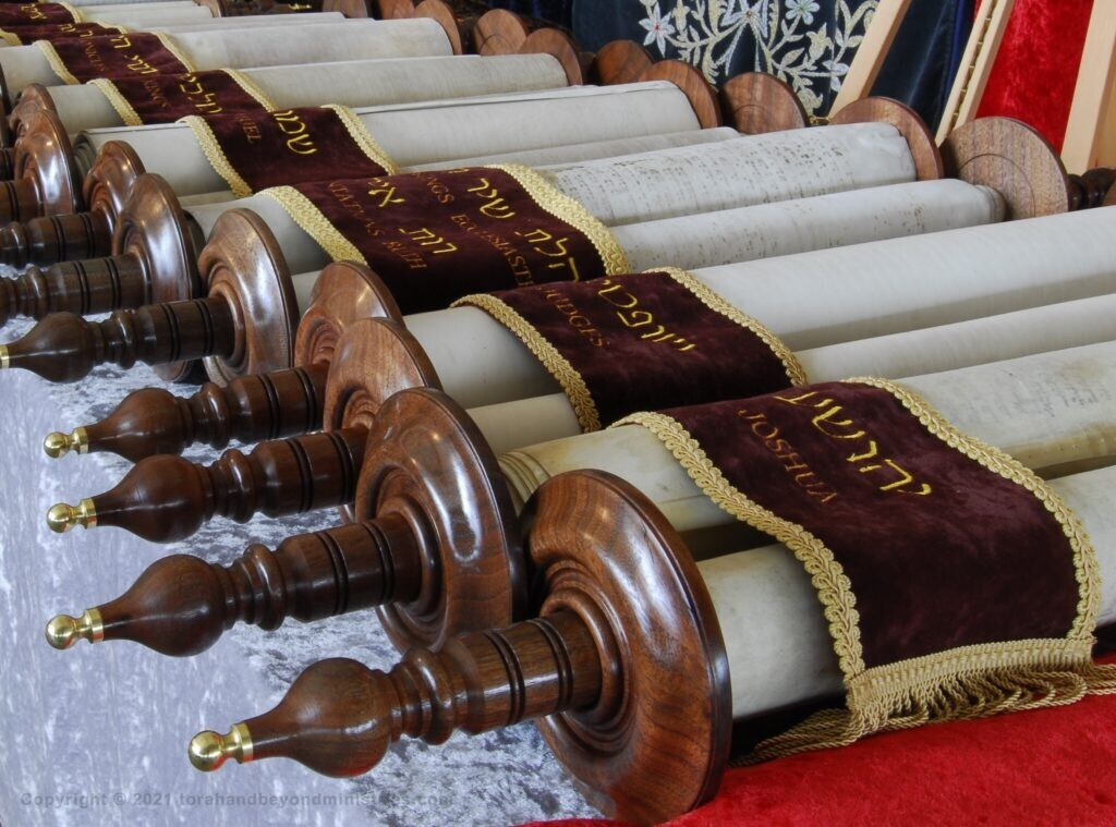 The Tanakh with new etz chaim, custom made wooden Scroll rollers