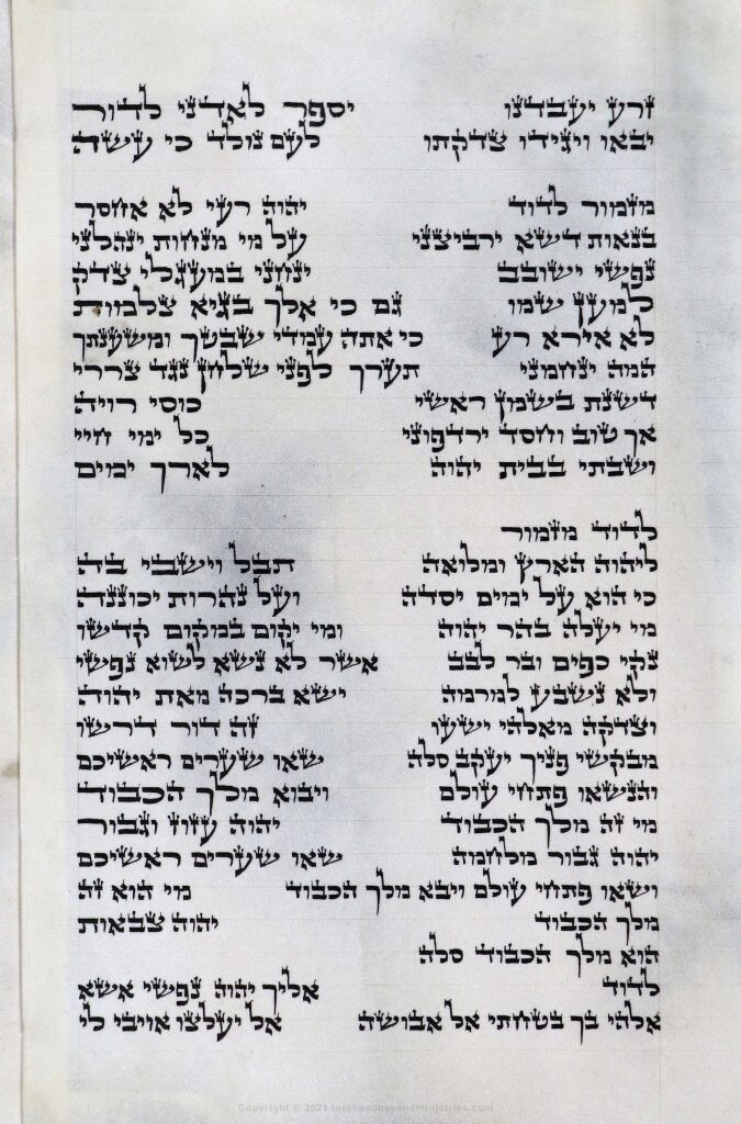 Photograph of the Hebrew Scroll of Psalms. The second section in the photograph is Psalm 23. This Scroll was written before 1985.