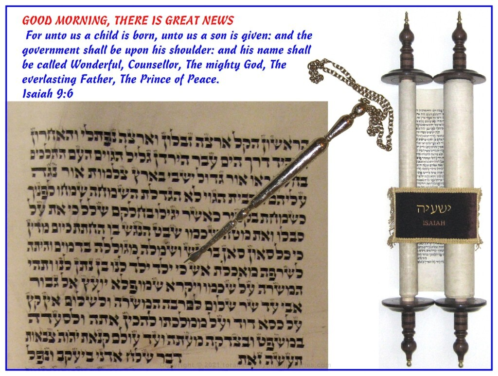 Isaiah 9:6 from a Hebrew Scroll of Isaiah written in Poland in the 1800s