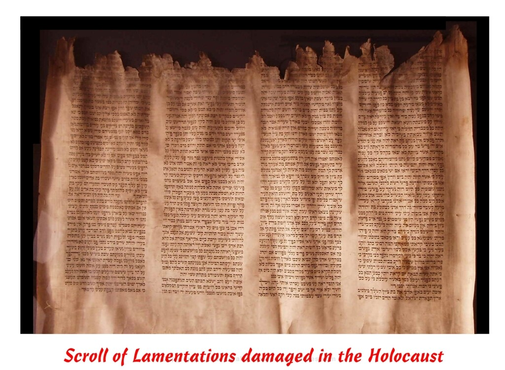 Lamentations damaged in Holocaust Hebrew Jewish clip art