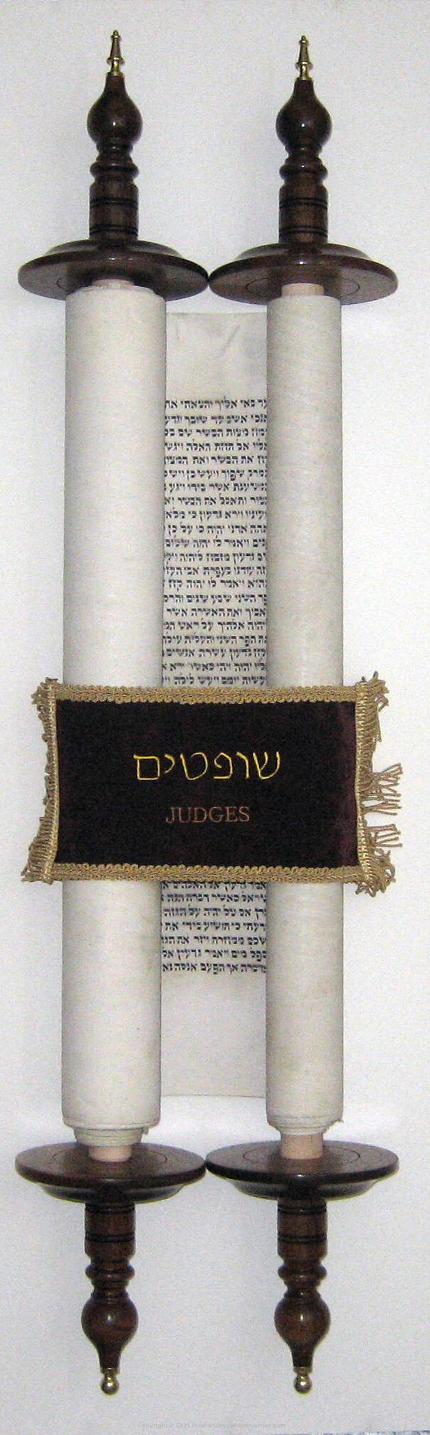 Hebrew Scroll of Judges with new Etz Chaim - Scroll rollers